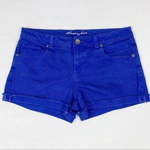 London Jean Indigo Denim Roll Cuff Raw Hem Shorts